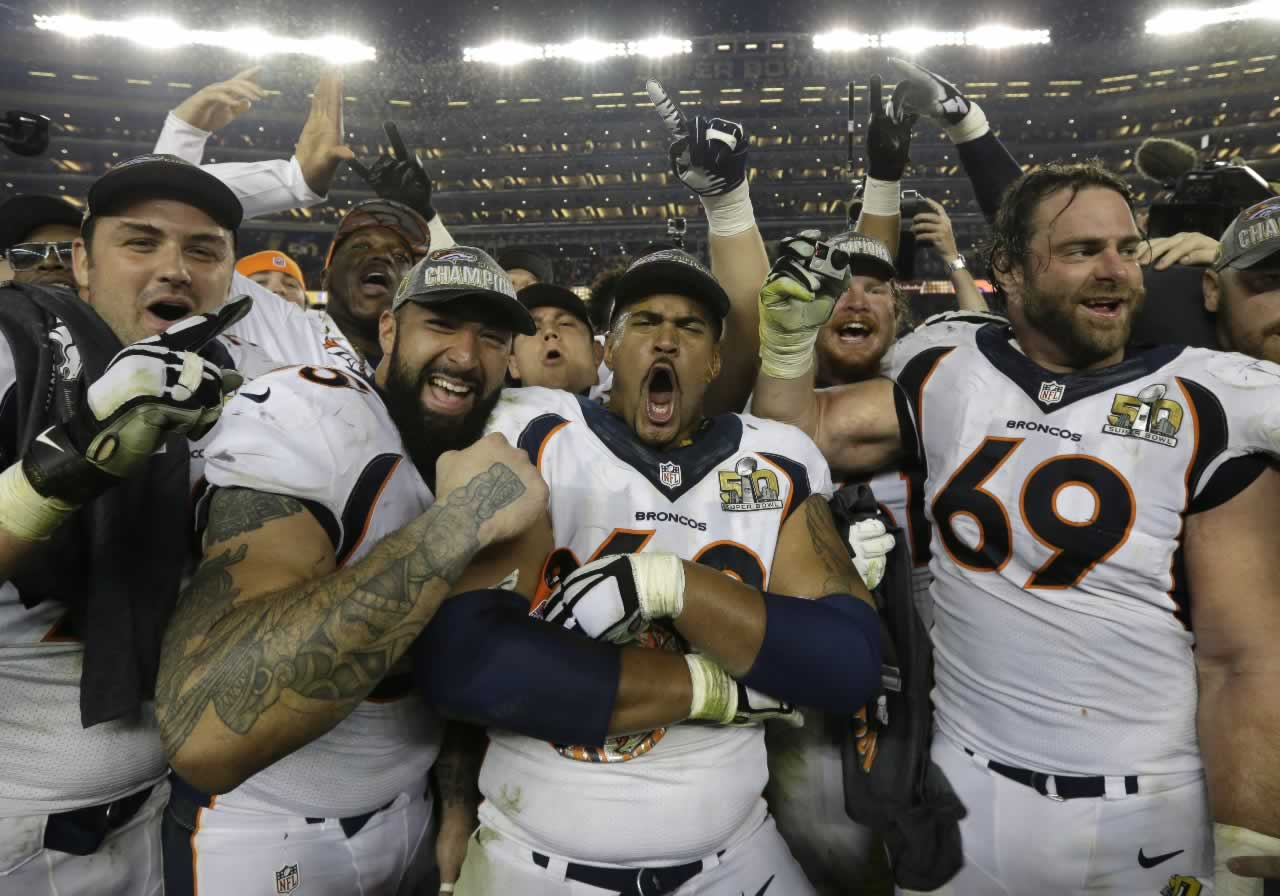 "<div class=""meta image-caption""><div class=""origin-logo origin-image none""><span>none</span></div><span class=""caption-text"">The Denver Broncos players celebrate after the NFL Super Bowl 50 football game against the Carolina Panthers Sunday, Feb. 7, 2016, in Santa Clara, Calif. (AP Photo/Gregory Bull)</span></div>"