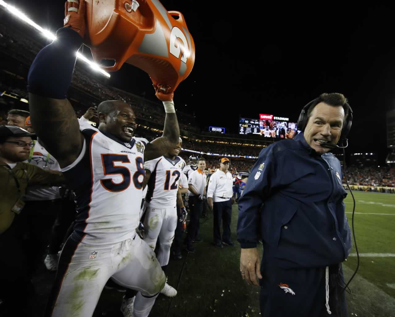 "<div class=""meta image-caption""><div class=""origin-logo origin-image none""><span>none</span></div><span class=""caption-text"">Broncos head coach Gary Kubiak reacts after getting soaked with a sports drink by Von Miller after the NFL Super Bowl 50 football game Sunday, Feb. 7, 2016, in Santa Clara, Calif. (AP Photo/Matt Slocum)</span></div>"