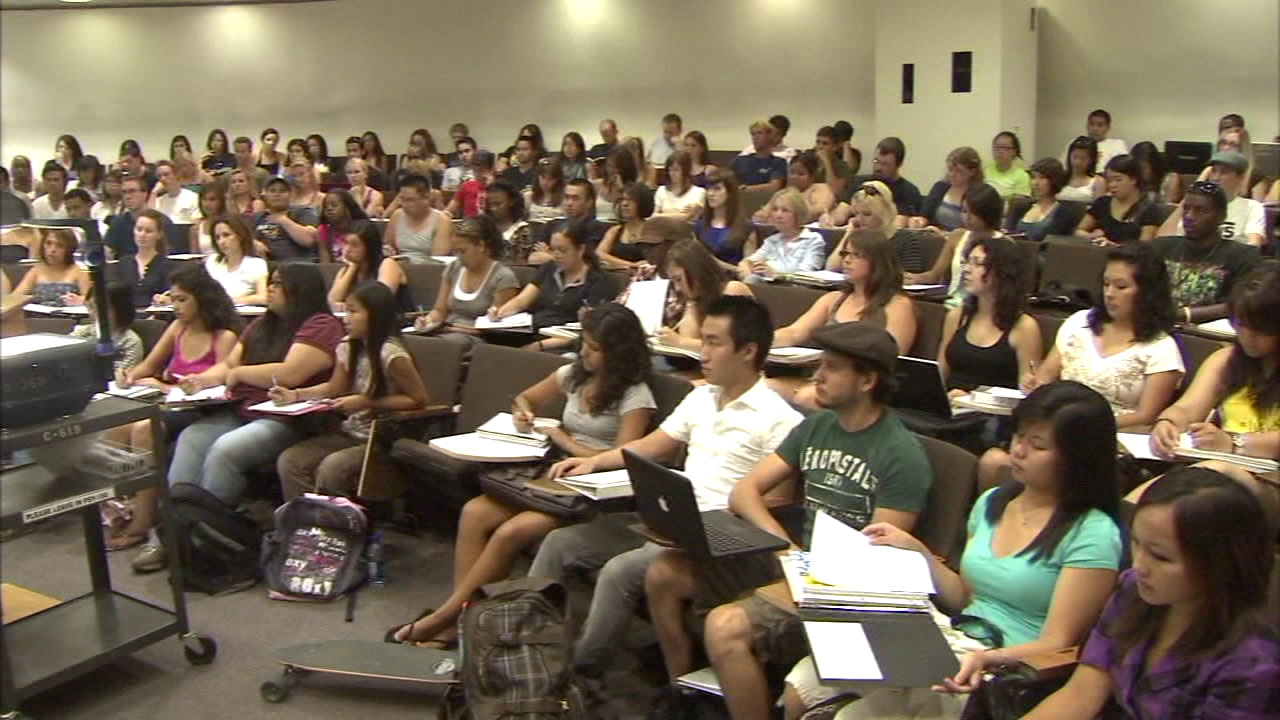 California State University students are seen in a classroom in this undated file photo.