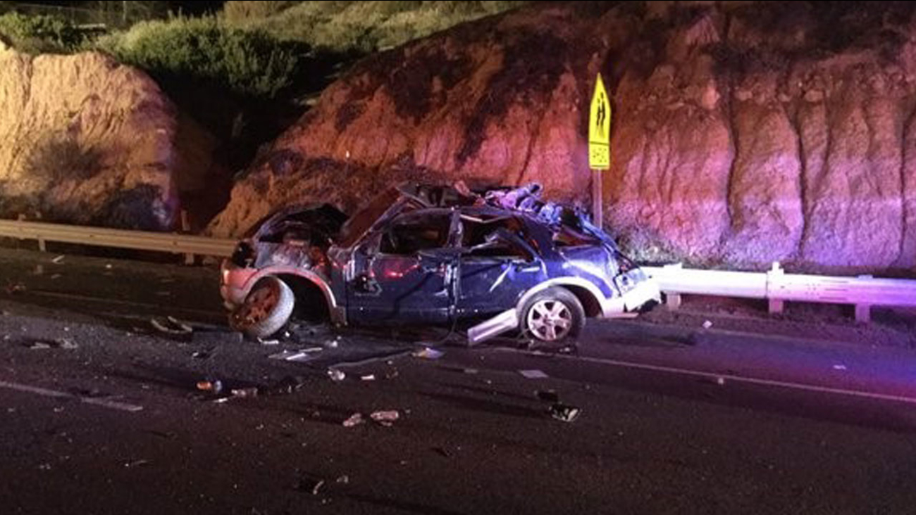 A photo shows a mangled SUV after it crashed with another car near Laguna Beach on Monday, Feb. 8, 2016.