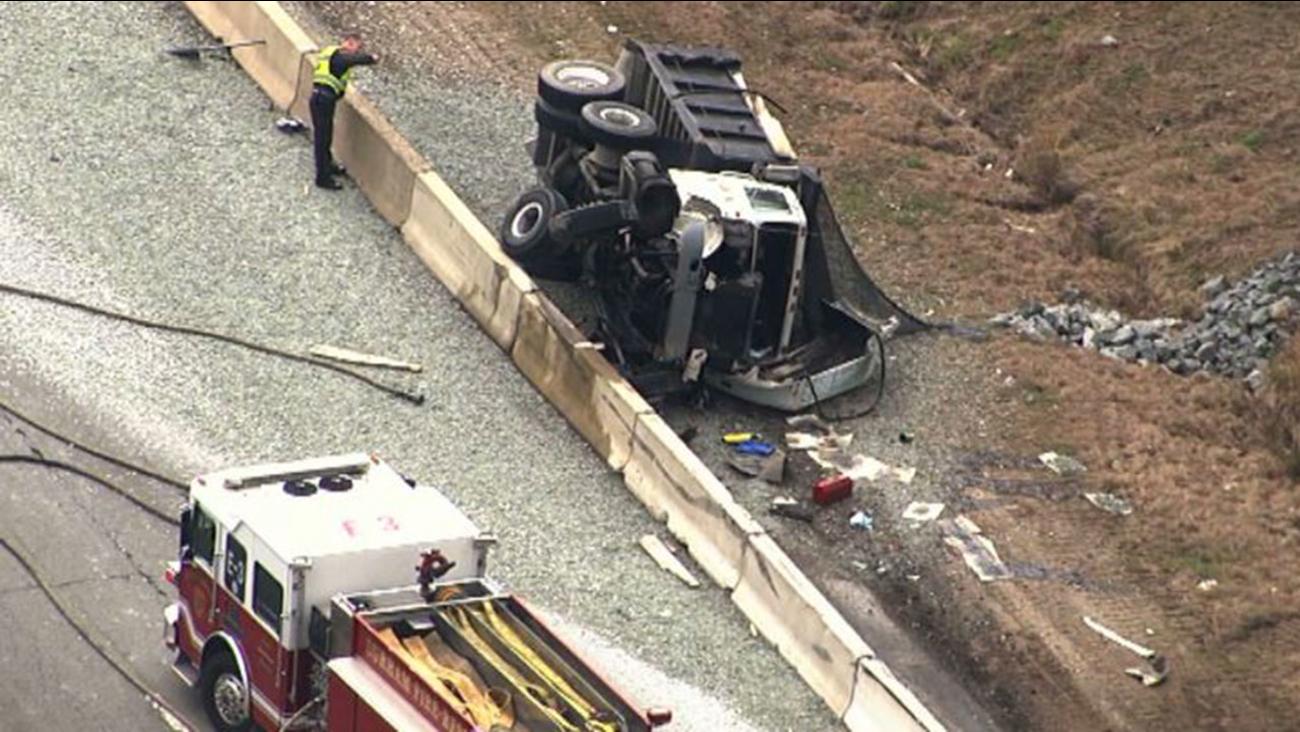 Overturned dump truck along Highway 70 in Durham