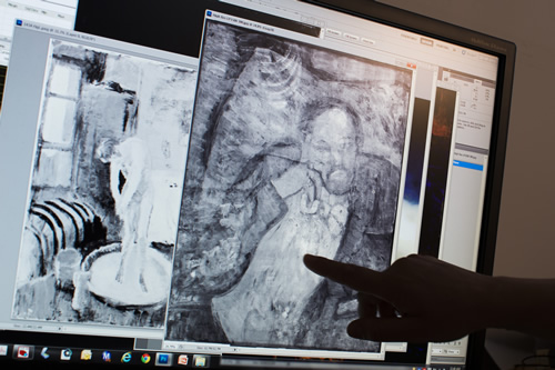 "<div class=""meta image-caption""><div class=""origin-logo origin-image ""><span></span></div><span class=""caption-text"">An image of a man found underneath one of Picasso's first masterpieces, ""The Blue Room,"" is pointed out on June 10, 2014, in Washington. (AP Photo/ Evan Vucci)</span></div>"
