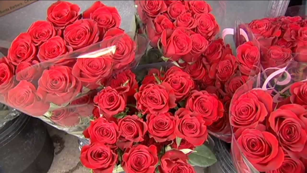Red roses are on display in San Francisco on Wednesday, February 10, 2016.