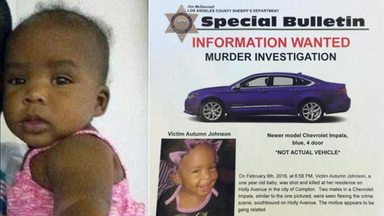 Autumn Johnson, 1, was killed in a gang-related shooting in the 300 block of Holly Avenue in Compton on Tuesday, Feb. 9, 2016.