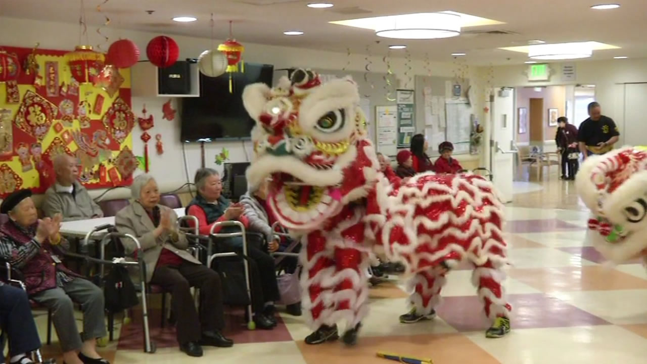 San Francisco Police Department lion dancers perform at the Powell Pace Center in San Francisco Feb. 10, 2016.