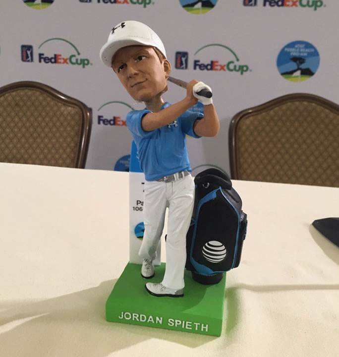 """<div class=""""meta image-caption""""><div class=""""origin-logo origin-image none""""><span>none</span></div><span class=""""caption-text"""">Bobbleheads fashioned after the winning 22-year-old pro golfer Jordan Spieth will be given away on Saturday, February 13, 2016 at the AT&T Pebble Beach Pro-Am. (KGO-TV/Mike Shumann)</span></div>"""