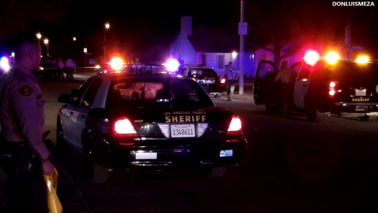 Los Angeles County sheriff's deputies shot and killed an ax-wielding man in the 2800 block of La Vida Drive in Lancaster Thursday, Feb. 1, 2016.