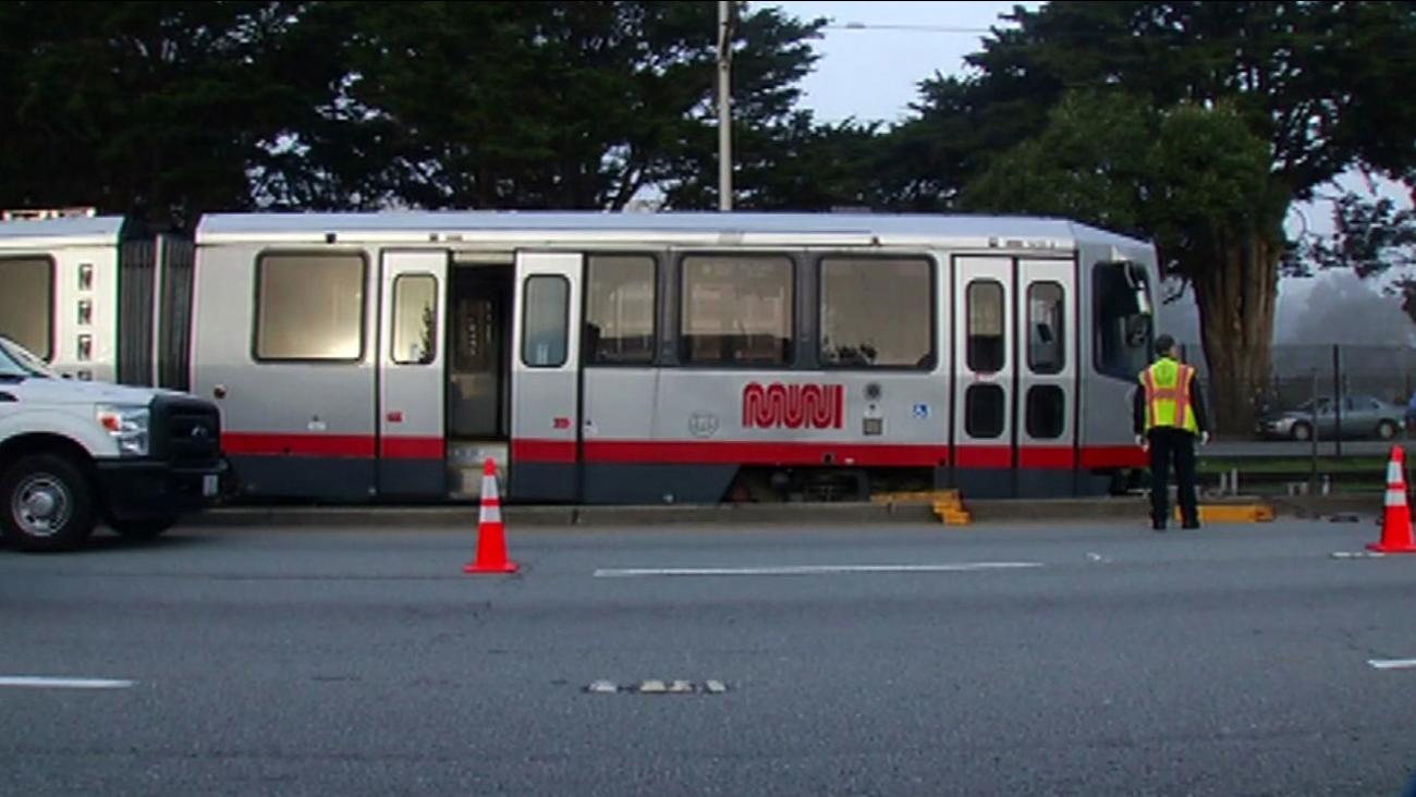 Muni train derailment on 19th Avenue in San Francisco, Friday, February 12, 2016.