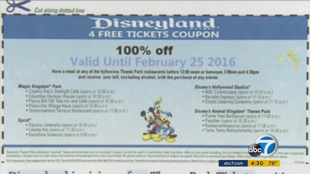 Disneyland admission coupons