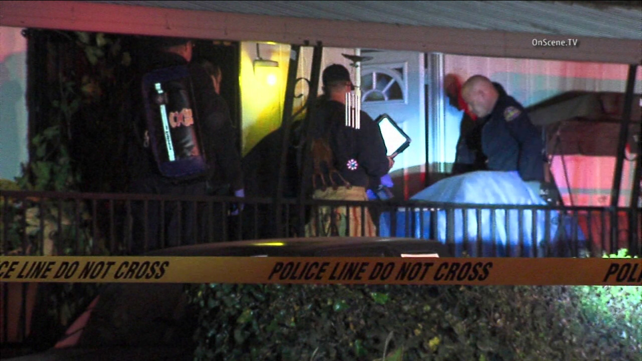 Detectives investigate after an attempted burglar was shot and killed by a homeowner in Ontario on Sunday, Feb. 14, 2016, according to police.