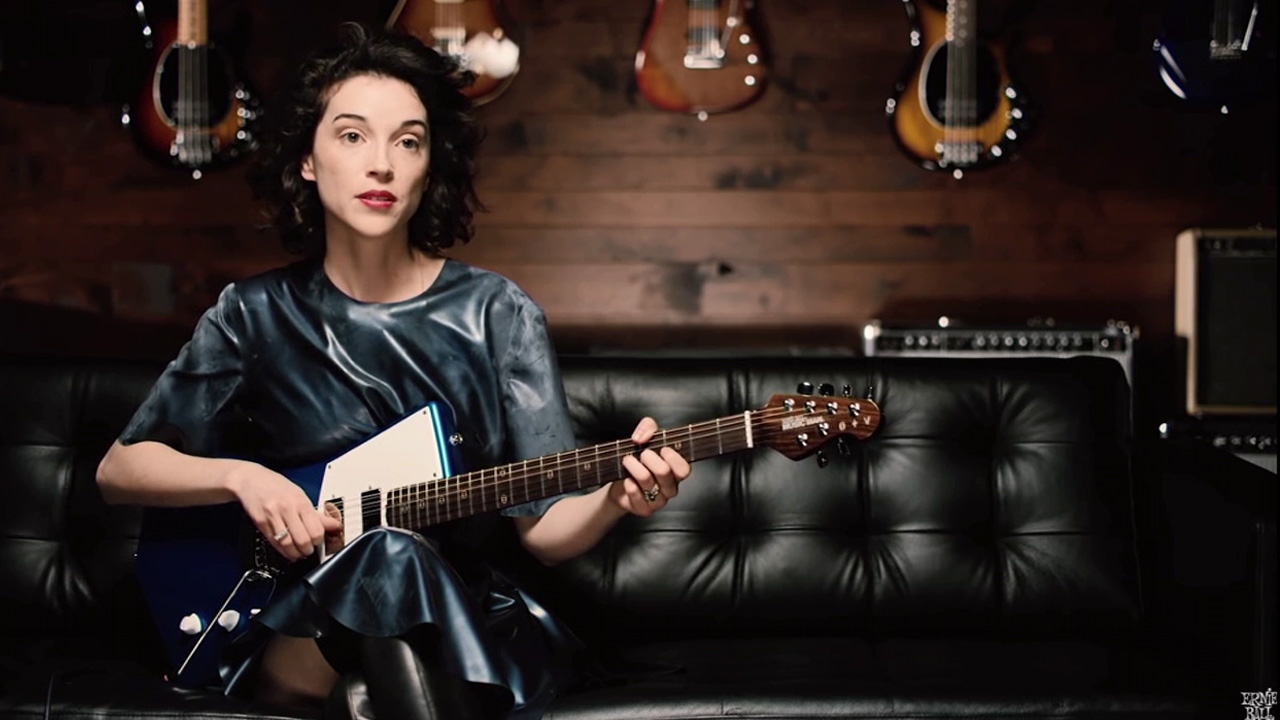 The St. Vincent Signature Ernie Ball Music Man Guitar is thinner at the waist and lighter than a typical guitar.