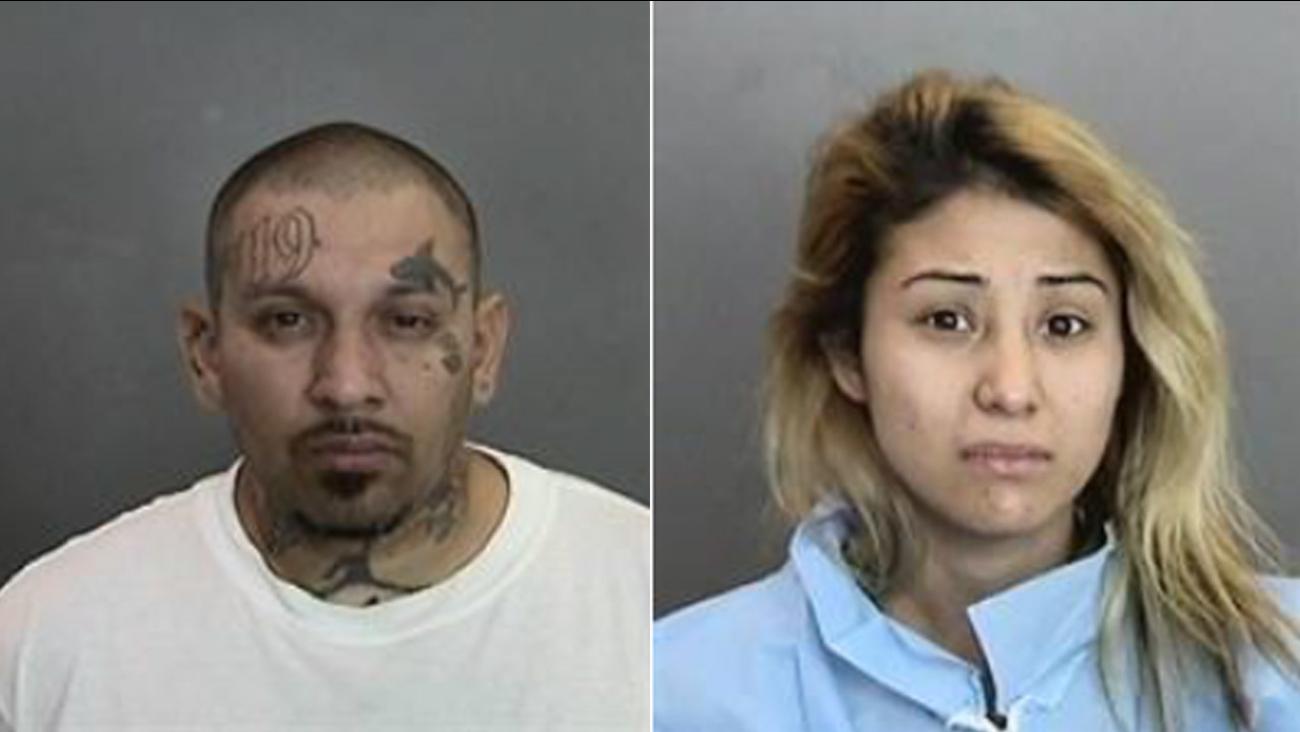 Ariel Guizar, 35, and Araceli Mendoza, 23, both of San Jose, are shown in booking photos.