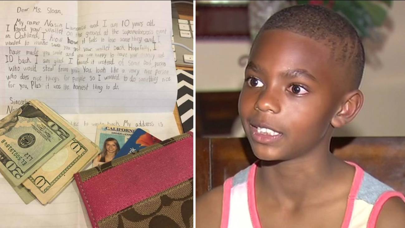 This undated image shows 10-year-old Nasim Lawrence of Antioch, Calif., who sparked a viral sensation after returning a lost wallet to a Bay Area woman.