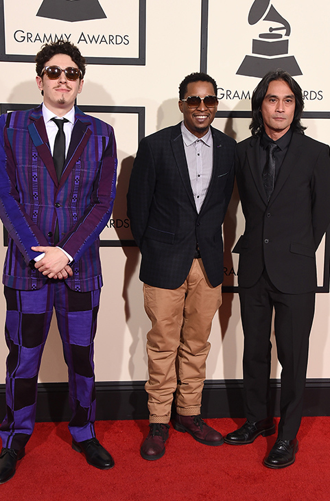 "<div class=""meta image-caption""><div class=""origin-logo origin-image ap""><span>AP</span></div><span class=""caption-text"">Russell Elevado, from left, Chris Dave, and Ben Kane arrive at the 58th annual GRAMMY Awards at the Staples Center on Monday, Feb. 15, 2016, in Los Angeles. (Jordan Strauss/Invision/AP)</span></div>"