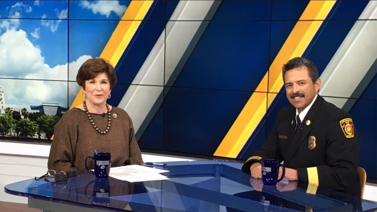 Adrienne Alpert of 'Eyewitness Newsmakers' speaks to Los Angeles Fire Chief Ralph Terrazas Sunday, Feb. 14, 2016.