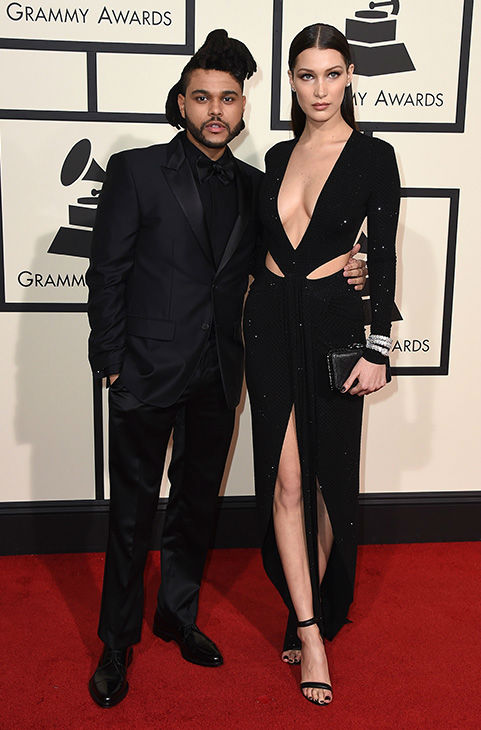 "<div class=""meta image-caption""><div class=""origin-logo origin-image none""><span>none</span></div><span class=""caption-text"">The Weeknd, left, and Bella Hadid arrive at the 58th annual Grammy Awards at the Staples Center on Monday, Feb. 15, 2016, in Los Angeles. (Jordan Strauss/Invision/AP)</span></div>"