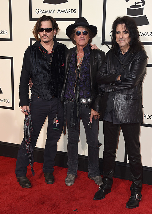 "<div class=""meta image-caption""><div class=""origin-logo origin-image ap""><span>AP</span></div><span class=""caption-text"">Johnny Depp, from left, Joe Perry, and Alice Cooper arrive at the 58th annual Grammy Awards at the Staples Center on Monday, Feb. 15, 2016, in Los Angeles. (Jordan Strauss/Invision/AP)</span></div>"