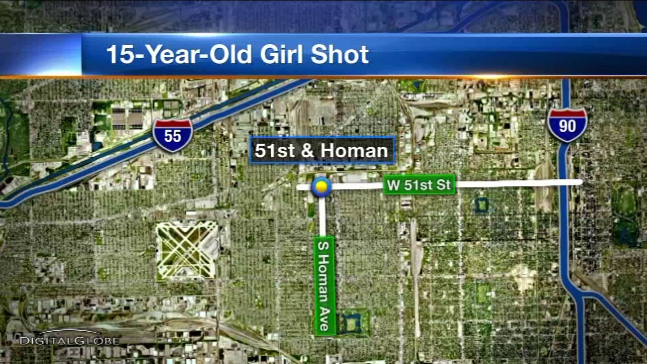 A 15-year-old girl was shot while walking in Chicago's Gage Park neighborhood on the Southwest Side.
