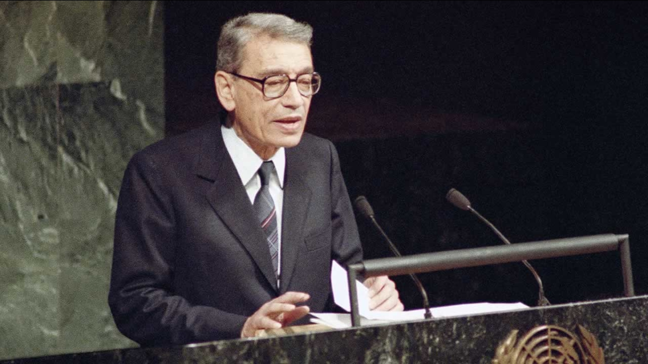 Boutros Boutros-Ghali addresses the United Nations General Assembly after being sworn in as the new U.S. Secretary-General in United Nations on Tuesday, Dec. 3, 1991.