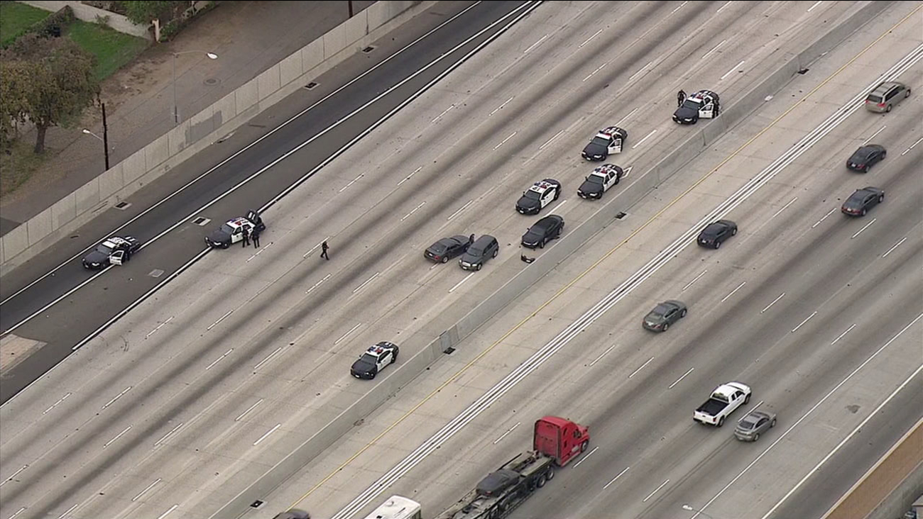 A high-speed chase of an alleged stolen vehicle ended in a multi-vehicle crash on the southbound 5 Freeway in Sylmar Wednesday, Feb. 17, 2016.