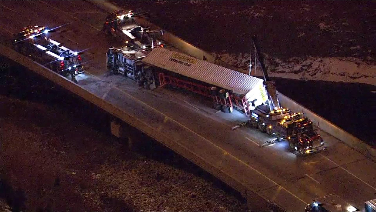 The outbound Bishop Ford ramp to eastbound I-80/94 is closed due to a crash involving an overturned semi and an IDOT truck.