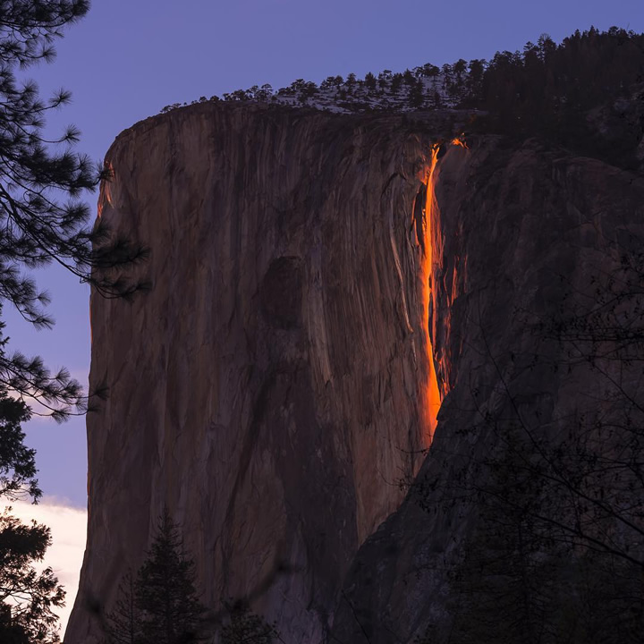 "<div class=""meta image-caption""><div class=""origin-logo origin-image none""><span>none</span></div><span class=""caption-text"">This image taken in February 2016 shows the waterfall at Horsetail Falls in Yosemite National Park illuminated by the sunset. (Photo submitted to KGO-TV by @sangeetadeyphotography/Instagram)</span></div>"