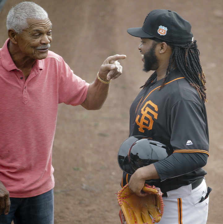 """<div class=""""meta image-caption""""><div class=""""origin-logo origin-image none""""><span>none</span></div><span class=""""caption-text"""">San Francisco Giants pitcher Johnny Cueto, right, talks with former manager Felipe Alou during practice for the spring baseball season in Scottsdale, Ariz., Thursday, Feb. 18, 2016 (AP Photo/Chris Carlson)</span></div>"""