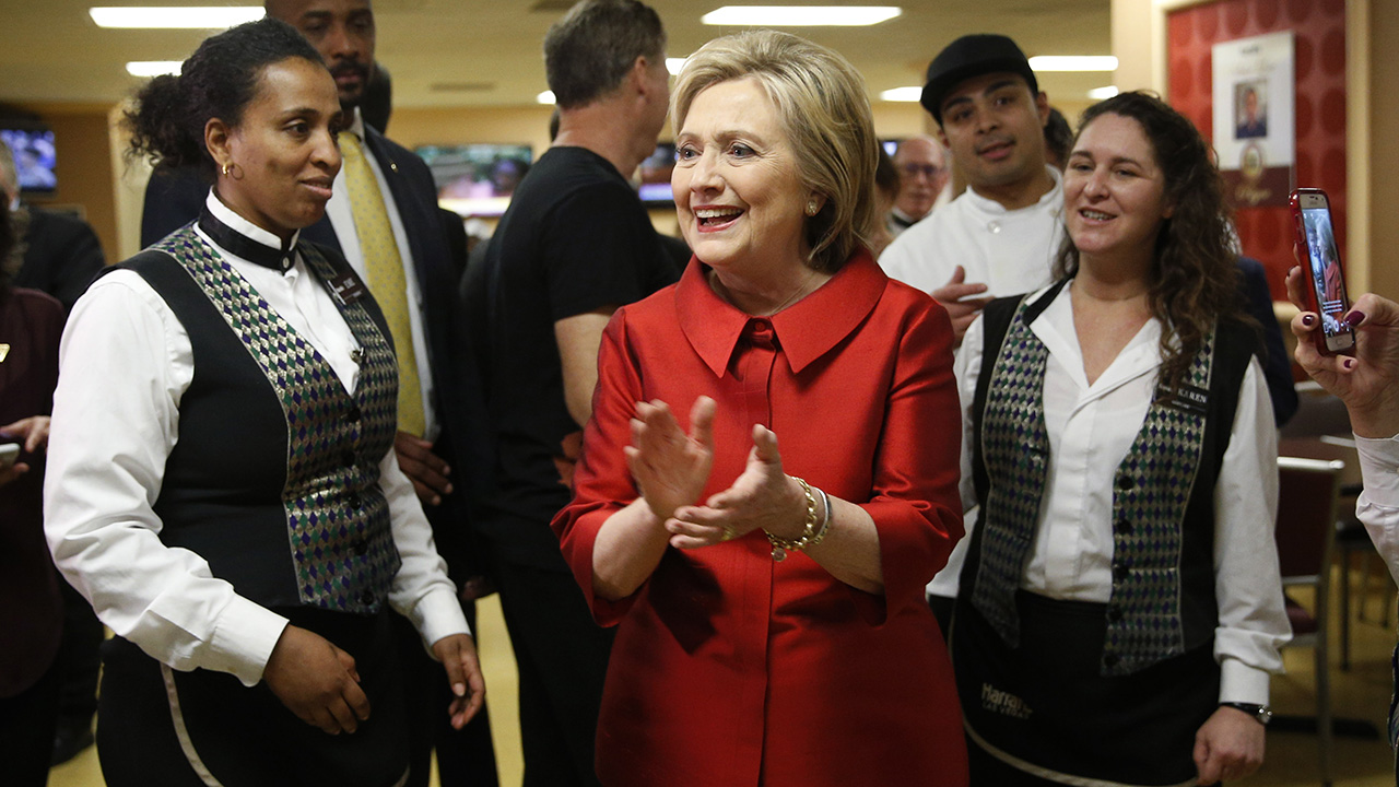 Democratic presidential candidate Hillary Clinton visits with Harrah's Las Vegas employees on the day of the Nevada Democratic caucus, Saturday, Feb. 20, 2016
