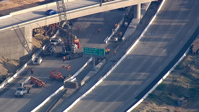 I-405 shut at I-605 due to construction accident