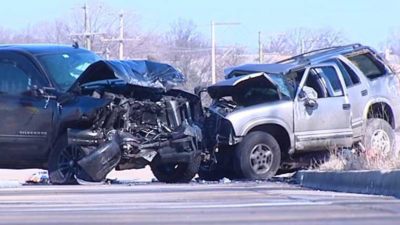 Two vehicles are severely damaged after a crash near Libertyville Friday morning. | Network Video Productions