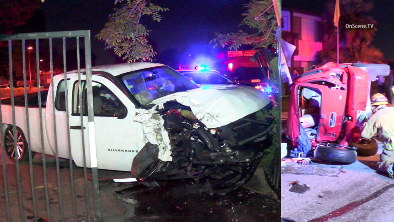 Garden Grove police say the driver of a white truck fled the scene after striking multiple cars along Magnolia Street on Sunday, Feb. 21, 2016.