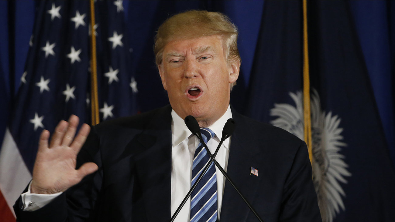 Republican presidential candidate Donald Trump speaks during a campaign stop, Thursday, Feb. 18, 2016, in Kiawah Island, S.C.