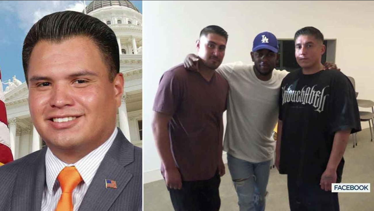 Compton City Councilman Isaac Galvan is seen in this photo (left). Dennis and Larry Galvan are seen in a photo with rapper Kendrick Lamar (right).