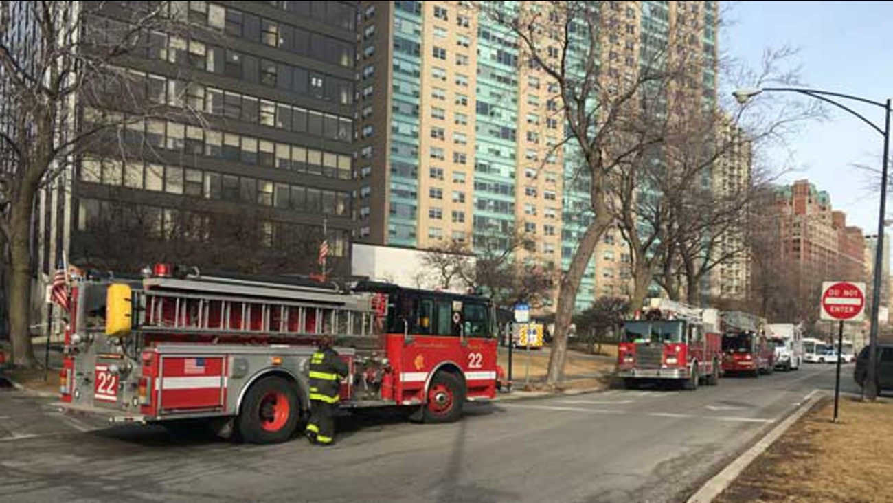 Firefighters battled a blaze at a high-rise in the 3100-block of North Lake Shore Drive Tuesday morning.