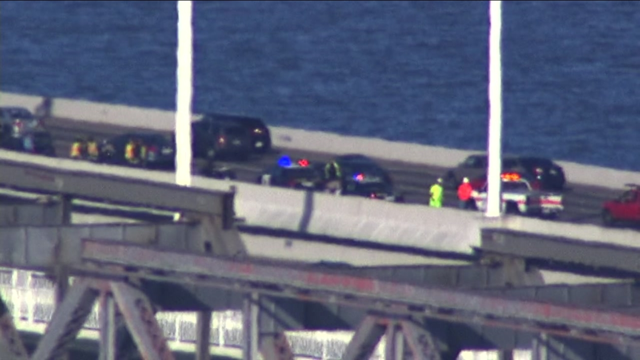 Three westbound lanes of the Bay Bridge were blocked on Tuesday, February 23, 2016 due to an accident.
