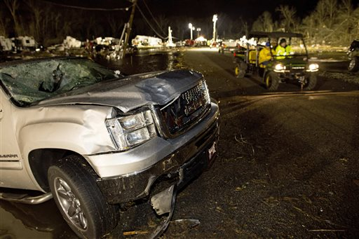 <div class='meta'><div class='origin-logo' data-origin='none'></div><span class='caption-text' data-credit=''>Destroyed trailers and vehicles are all that remain of the Sugar Hill RV Park after a suspected tornado hit in Convent, La. (AP Photo/Max Becherer)</span></div>