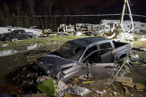 "<div class=""meta image-caption""><div class=""origin-logo origin-image none""><span>none</span></div><span class=""caption-text"">Destroyed trailers and vehicles are all that remain of the Sugar Hill RV Park after a suspected tornado hit the park in Convent, La. (AP Photo/Max Becherer)</span></div>"