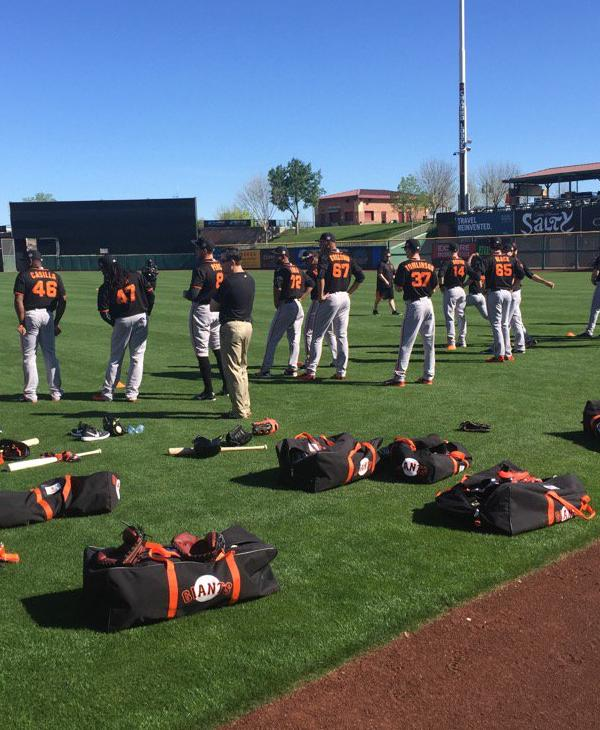 """<div class=""""meta image-caption""""><div class=""""origin-logo origin-image none""""><span>none</span></div><span class=""""caption-text"""">The San Francisco Giants practice during Spring training in Arizona on February 23, 2016. (Photo submitted to KGO-TV by @MikeShumann/Twitter)</span></div>"""