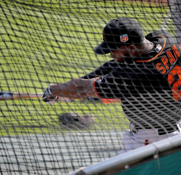 "<div class=""meta image-caption""><div class=""origin-logo origin-image none""><span>none</span></div><span class=""caption-text"">San Francisco Giants' Denard Span hits during spring training baseball practice, Tuesday, Feb. 23, 2016, in Scottsdale, Ariz. (AP Photo/Matt York)</span></div>"
