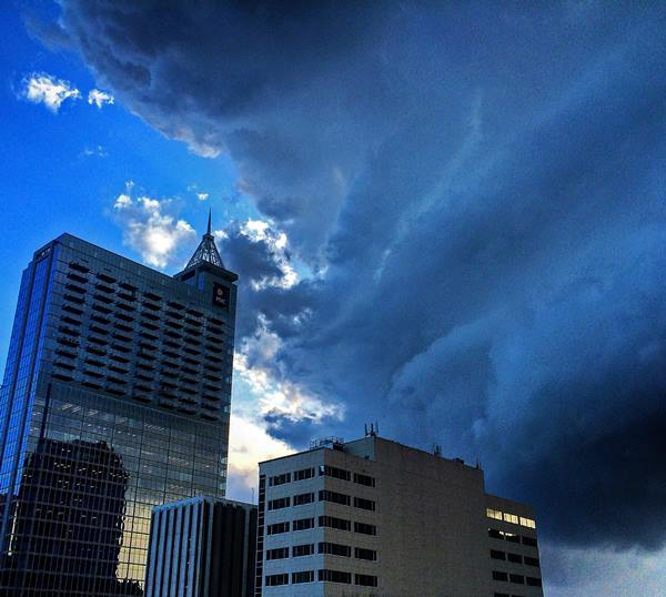 "<div class=""meta image-caption""><div class=""origin-logo origin-image none""><span>none</span></div><span class=""caption-text"">Early signs of the storm brewing over downtown Raleigh. (ABC11 Eyewitness/Jordan Petersen)</span></div>"