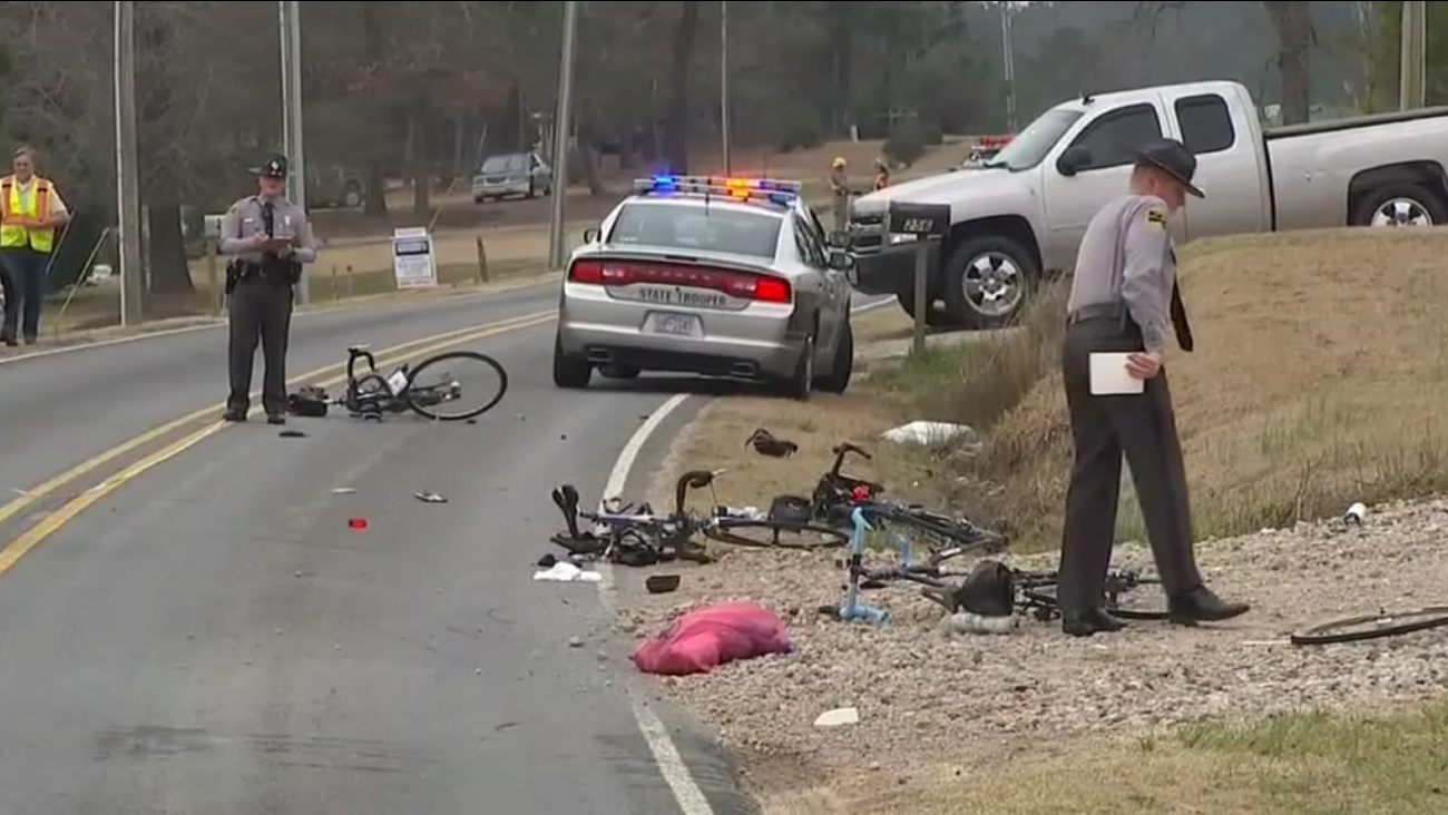 Four cyclists were hit by a car near Angier.