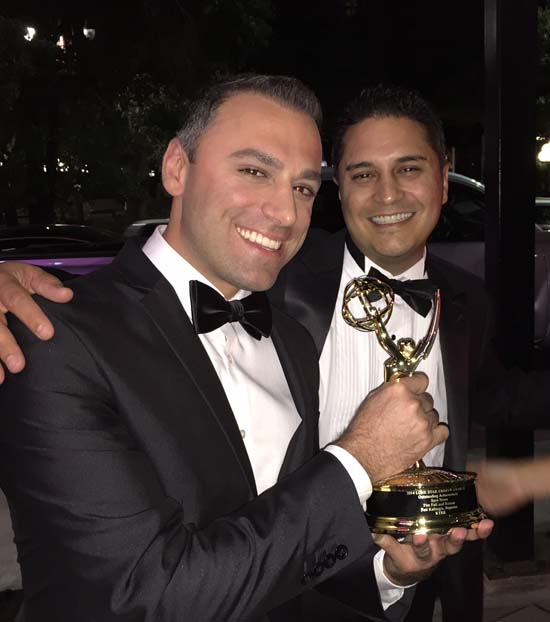 "<div class=""meta image-caption""><div class=""origin-logo origin-image ktrk""><span>KTRK</span></div><span class=""caption-text"">ABC-13 reporter Foti Kallergis and abc-13 producer David Rodriguez at the Emmy's</span></div>"