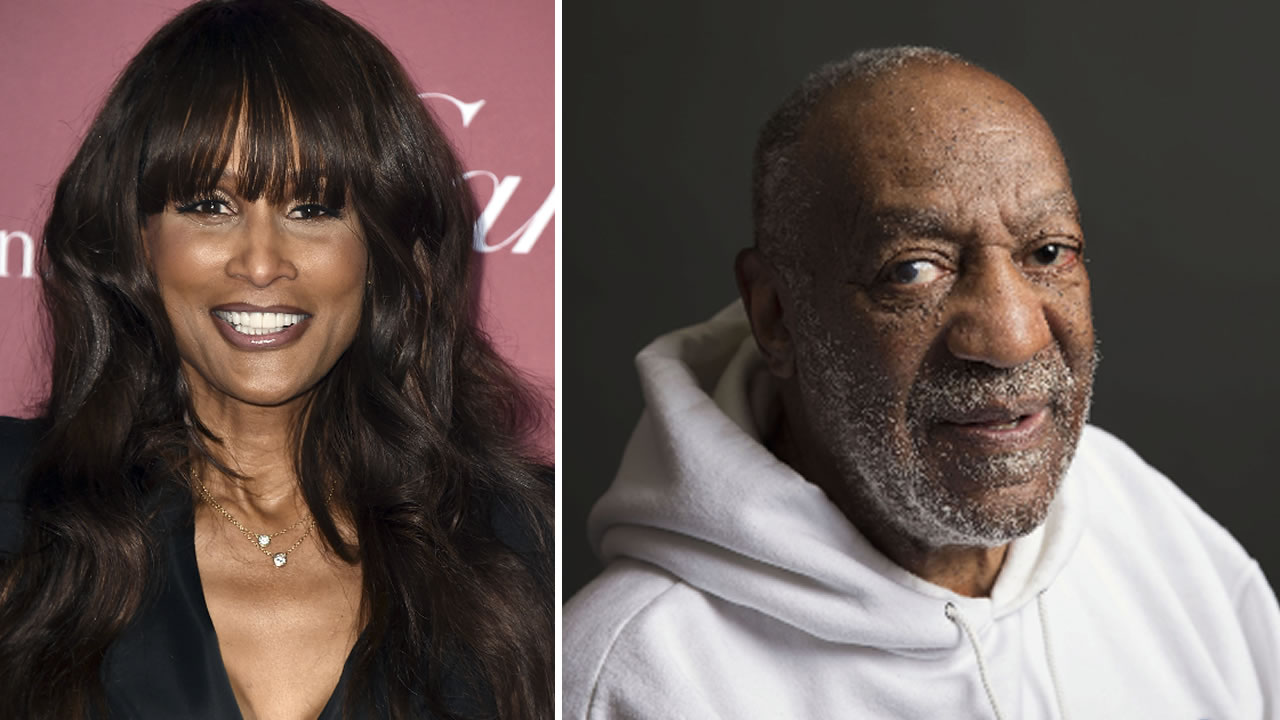 This split screen image shows Beverly Johnson and BIll Cosby.