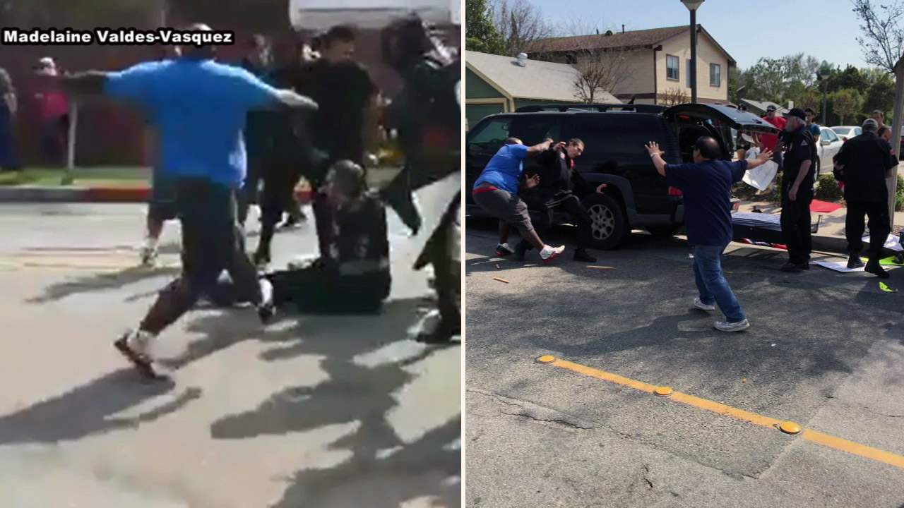 Three people were stabbed after a small group of Ku Klux Klan members rallying in Anaheim clashed with a large group of counter-protesters, according to police.