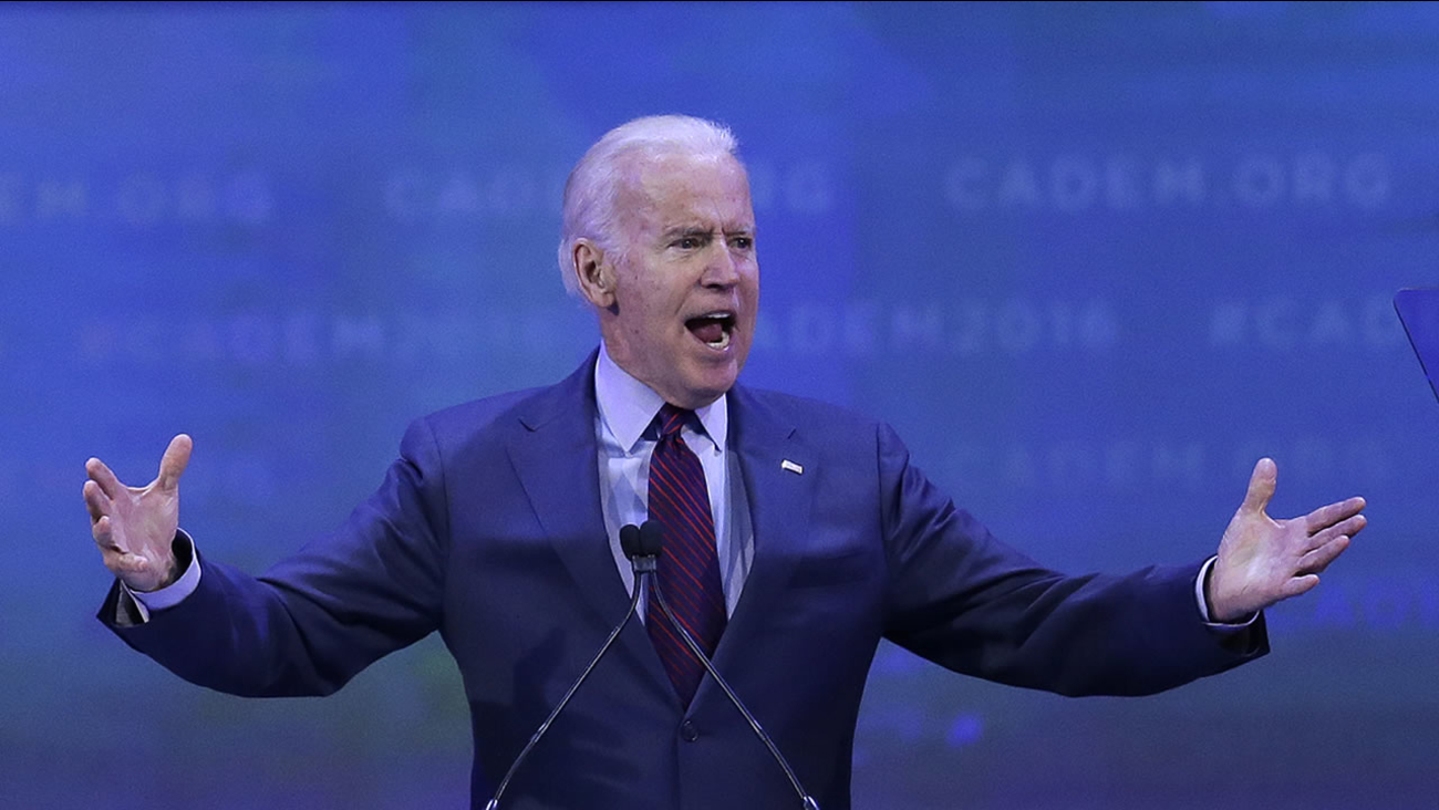 Vice President Joe Biden gestures while giving the keynote address at the California Democrats State Convention Saturday, Feb. 27, 2016, in San Jose, Calif.