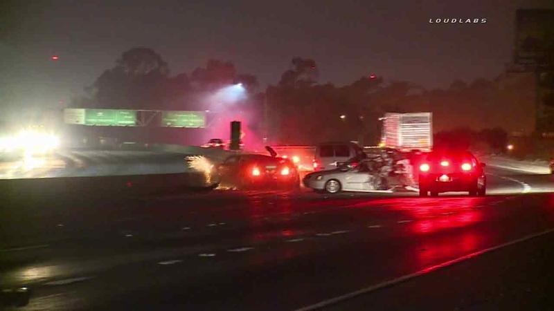 Multi-car crash on 605 Freeway in Whittier caught on camera
