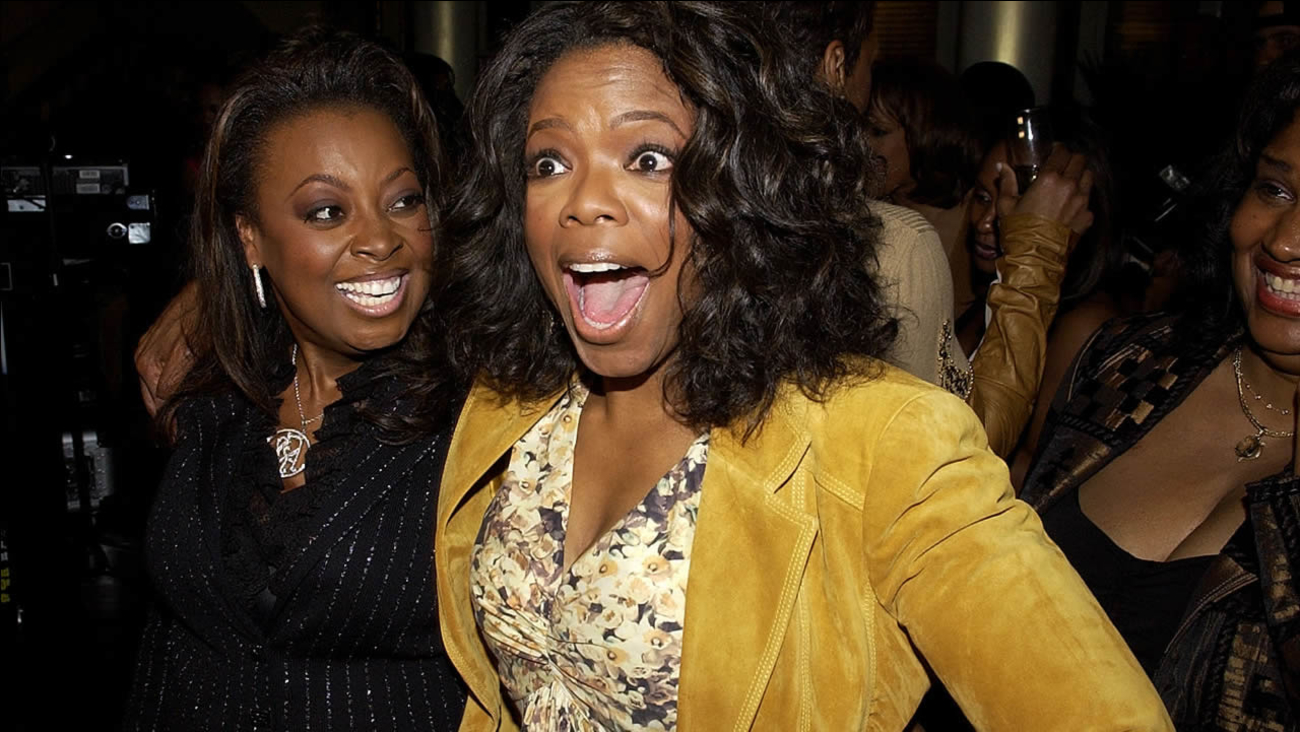 Oprah Winfrey, right, and Star Jones pose at Ebony Magazine's Pre-Oscar Salute to Hollywood in Beverly Hills, Calif. on Thursday, Feb. 24, 2005.