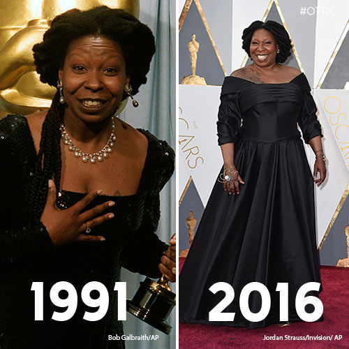"""<div class=""""meta image-caption""""><div class=""""origin-logo origin-image kfsn""""><span>kfsn</span></div><span class=""""caption-text"""">Whoopi Goldberg holds her Oscar for Best Supporting Actress in 'Ghost' in this March 26, 1991 photo (left). Whoopi Goldberg arrives at the Oscars on Sunday, Feb. 28, 2016 (right).</span></div>"""