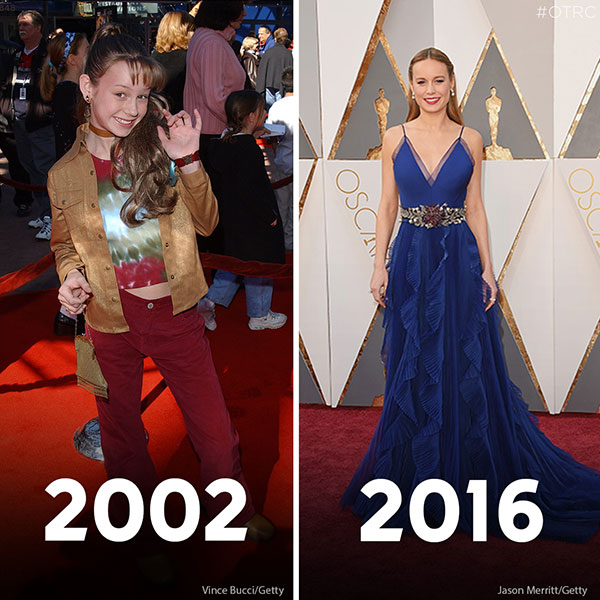 """<div class=""""meta image-caption""""><div class=""""origin-logo origin-image kfsn""""><span>kfsn</span></div><span class=""""caption-text"""">Brie Larson attends the premiere of the film 'Big Fat Liar' on Feb. 2, 2002 (left). Brie Larson arrives at the Oscars on Sunday, Feb. 28, 2016 (right). (Vince Bucci/Getty Images and Steve Granitz/WireImage)</span></div>"""