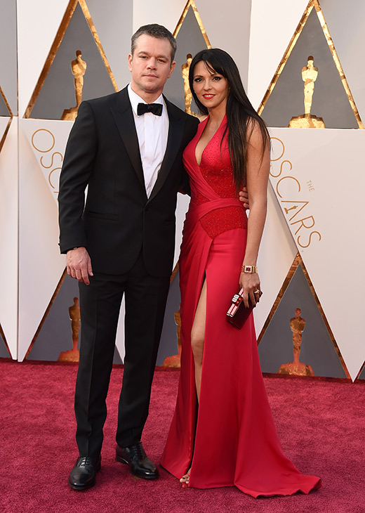 "<div class=""meta image-caption""><div class=""origin-logo origin-image ap""><span>AP</span></div><span class=""caption-text"">Matt Damon, left, and Luciana Barroso arrive at the Oscars on Sunday, Feb. 28, 2016, at the Dolby Theatre in Los Angeles. (Jordan Strauss/Invision/AP)</span></div>"